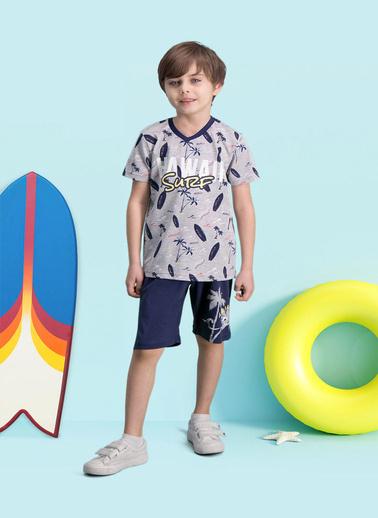 Roly Poly  Hawaii Surf Lacivert Erkek Çocuk Bermuda Takım Gri